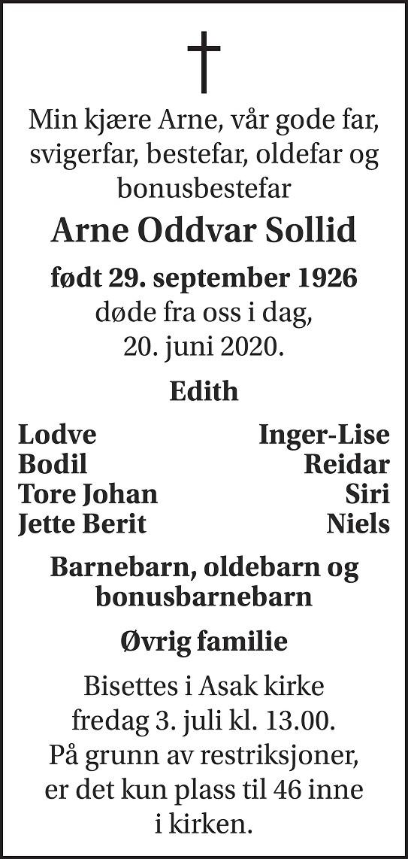 Arne Oddvar Sollid Dødsannonse