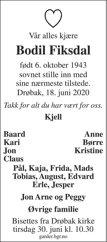 Bodil Fiksdal Dødsannonse