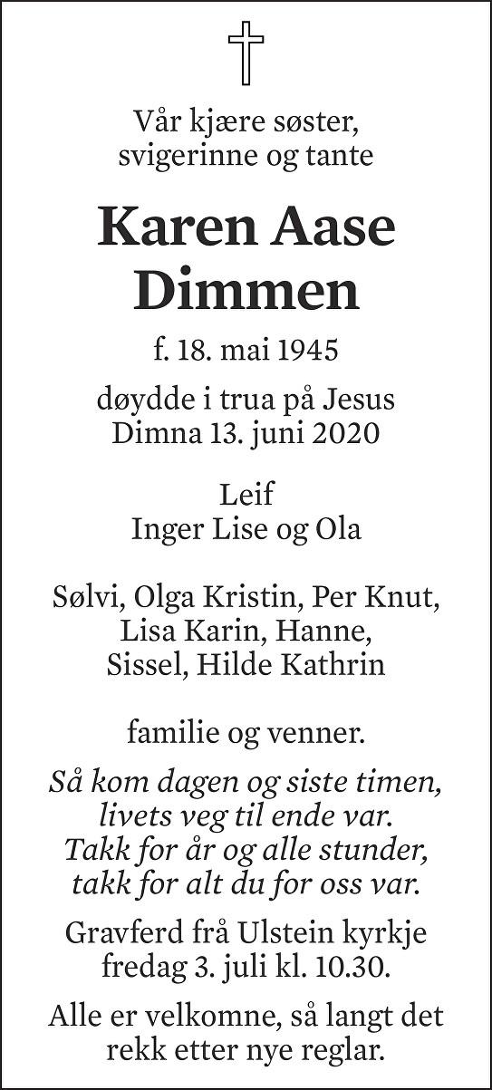 Karen Aase Dimmen Dødsannonse