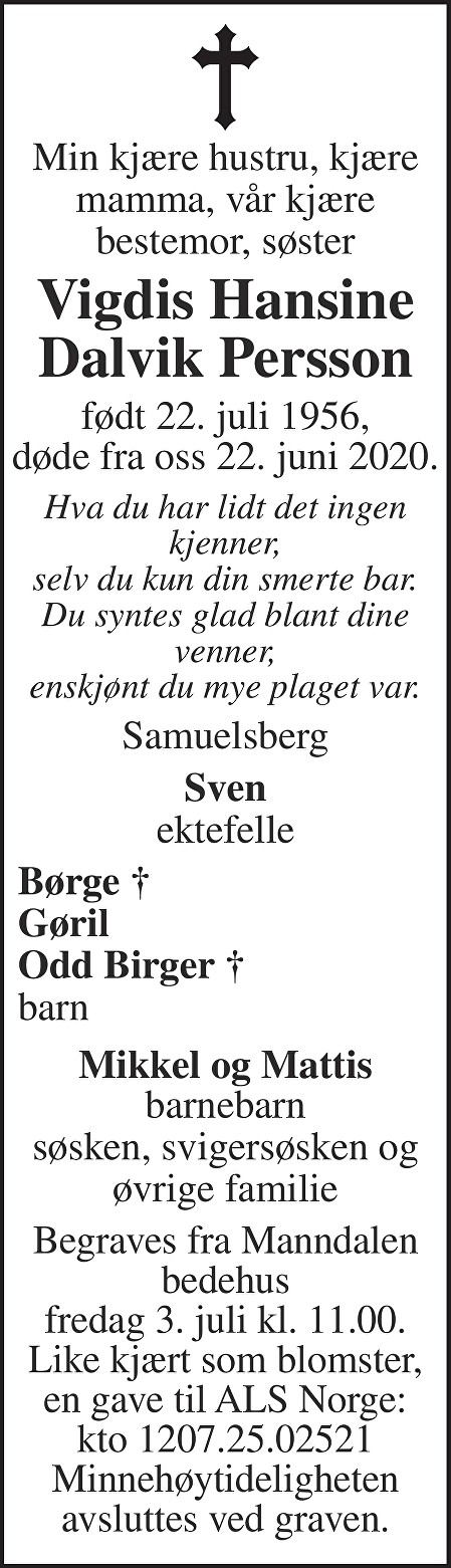 Vigdis Hansine Dalvik Persson Dødsannonse