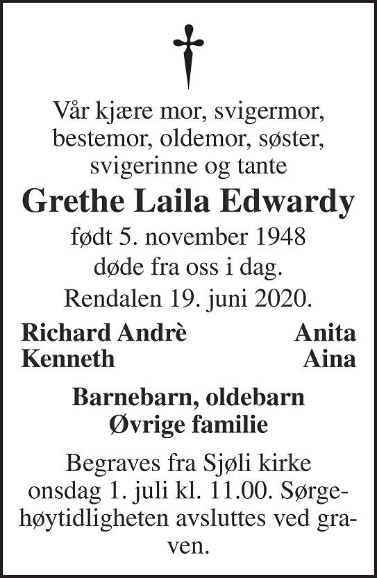 Grethe Laila Edwardy Dødsannonse