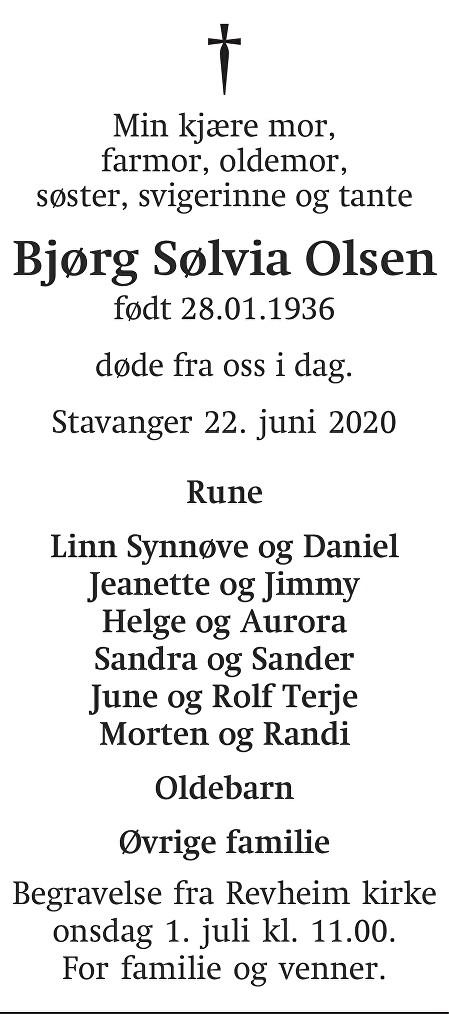 Bjørg Sølvia  Olsen Dødsannonse