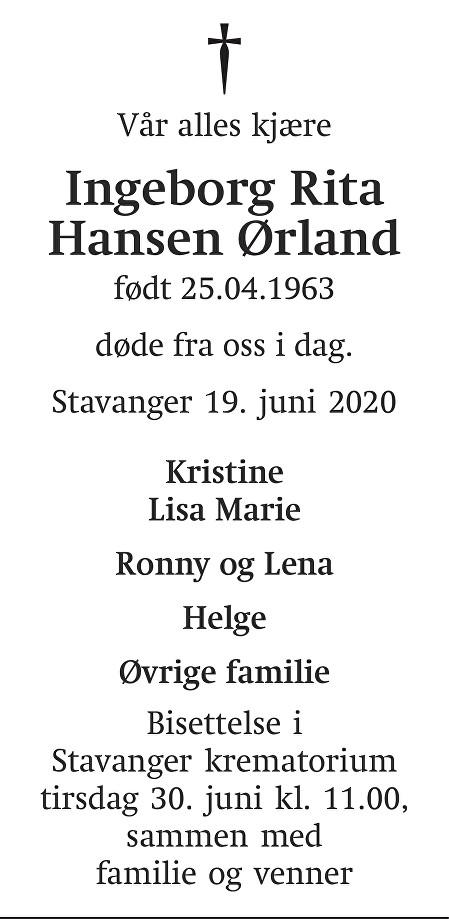 Ingeborg Rita Hansen Ørland Dødsannonse