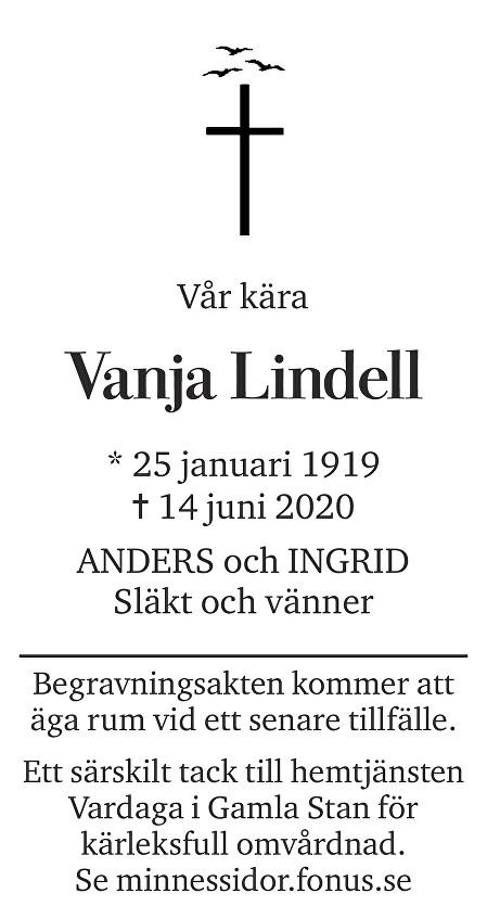 Vanja Lindell Death notice