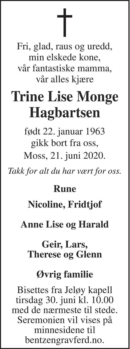 Trine Lise Monge Hagbartsen Dødsannonse