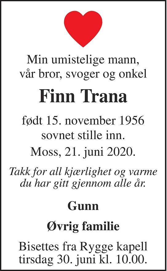 Finn Trana Dødsannonse