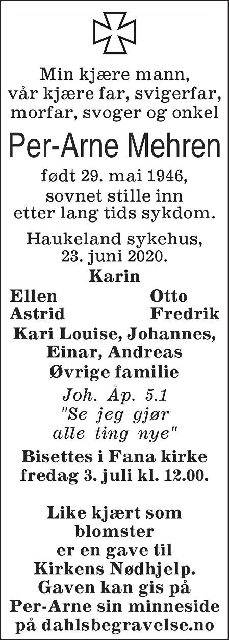 Per-Arne Mehren Dødsannonse
