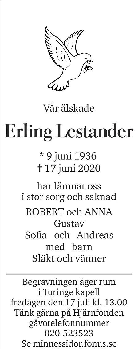 Erling Lestander Death notice