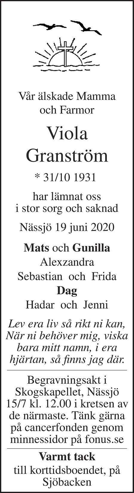 Viola Granström Death notice