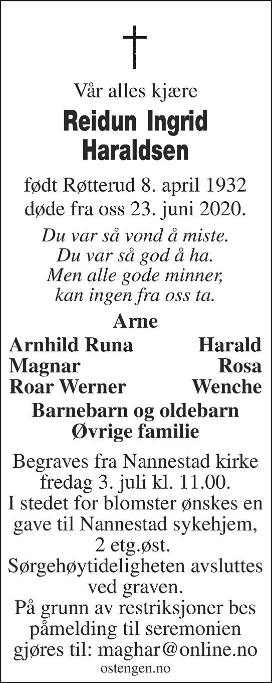 Reidun Ingrid Haraldsen Dødsannonse