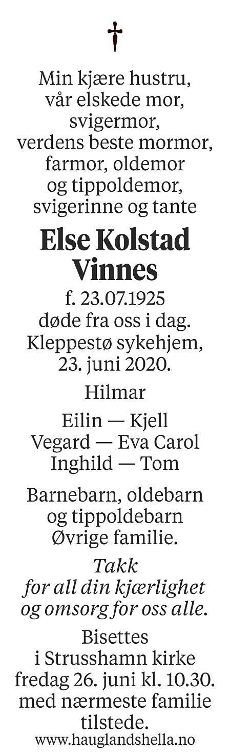 Else Kolstad Vinnes Dødsannonse
