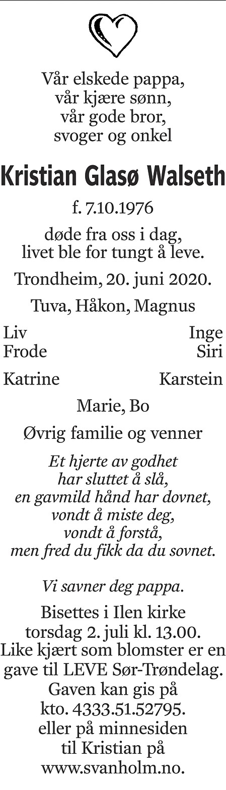 Kristian Glasø Walseth Dødsannonse