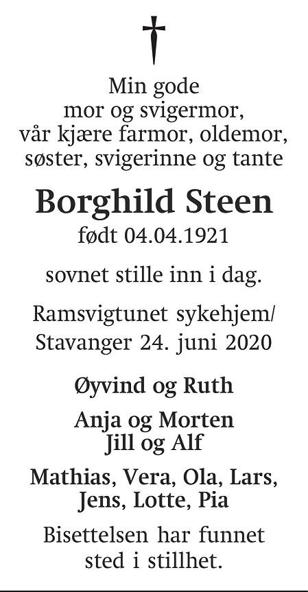 Borghild  Ingvalda Steen Dødsannonse