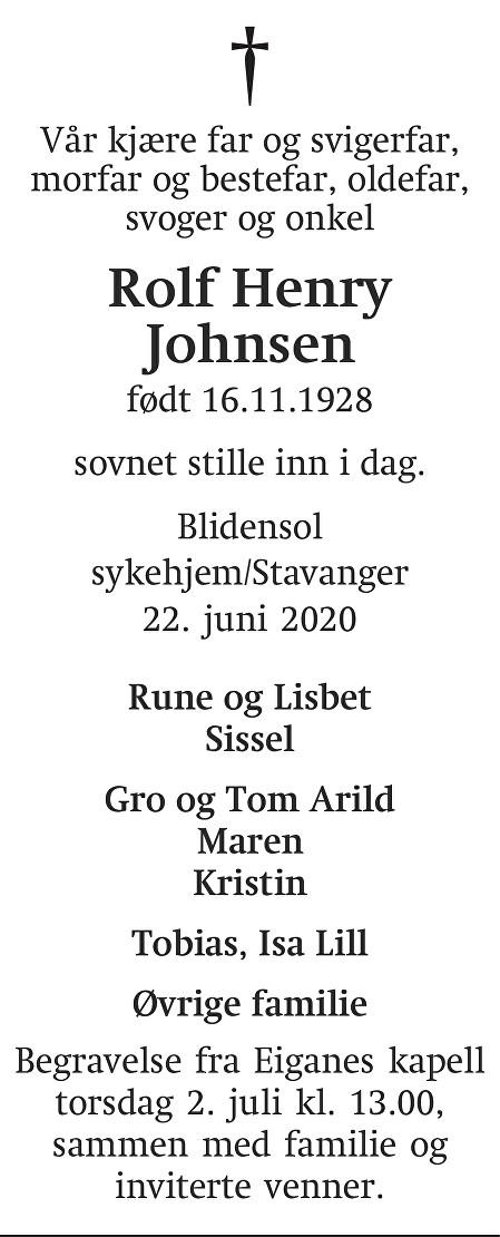 Rolf Henry Johnsen Dødsannonse