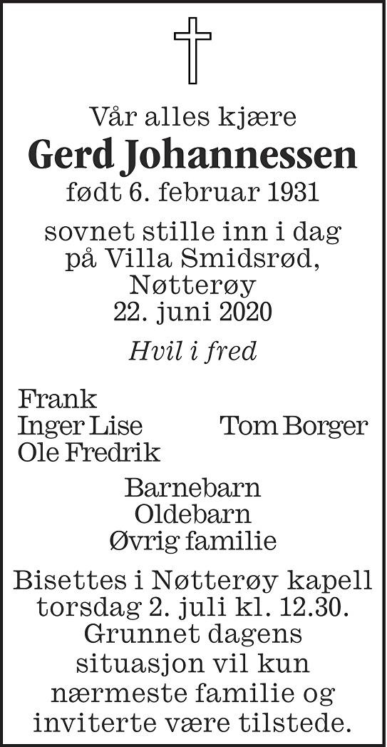 Gerd Johannessen Dødsannonse