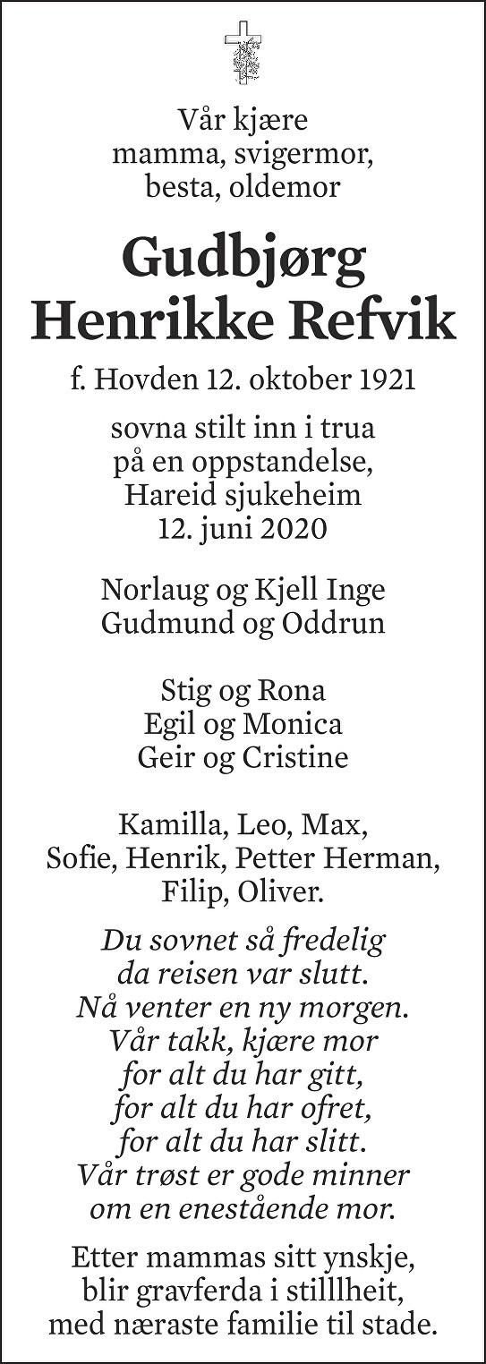 Gudbjørg Henrikke Refvik Dødsannonse