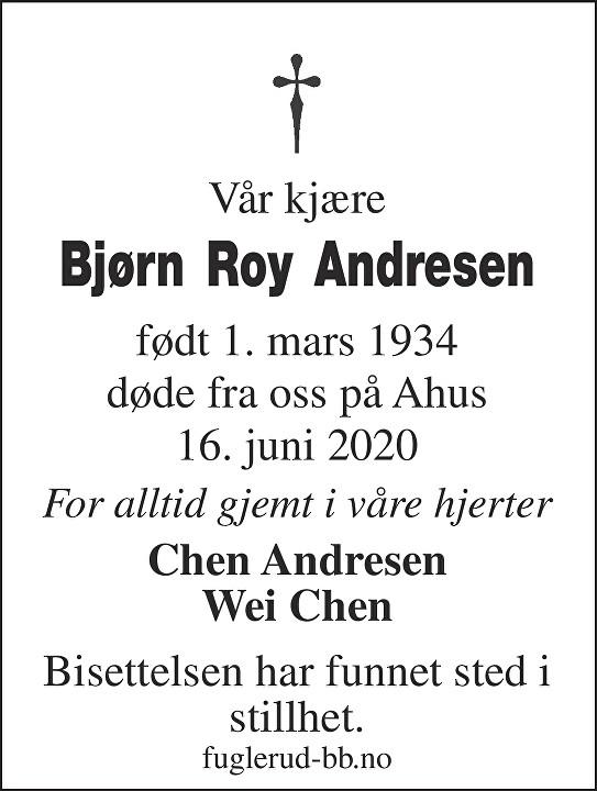 Andresen Bjørn Roy Dødsannonse