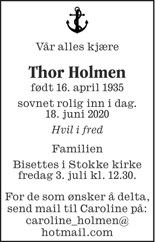 Thor Holmen Dødsannonse