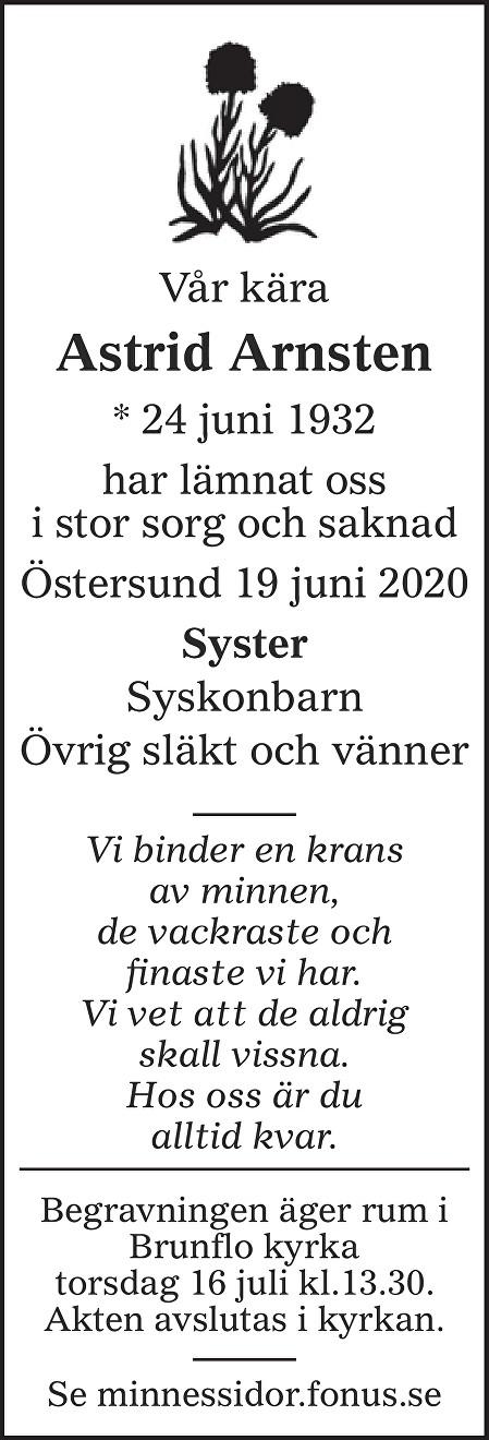 Astrid Arnsten Death notice