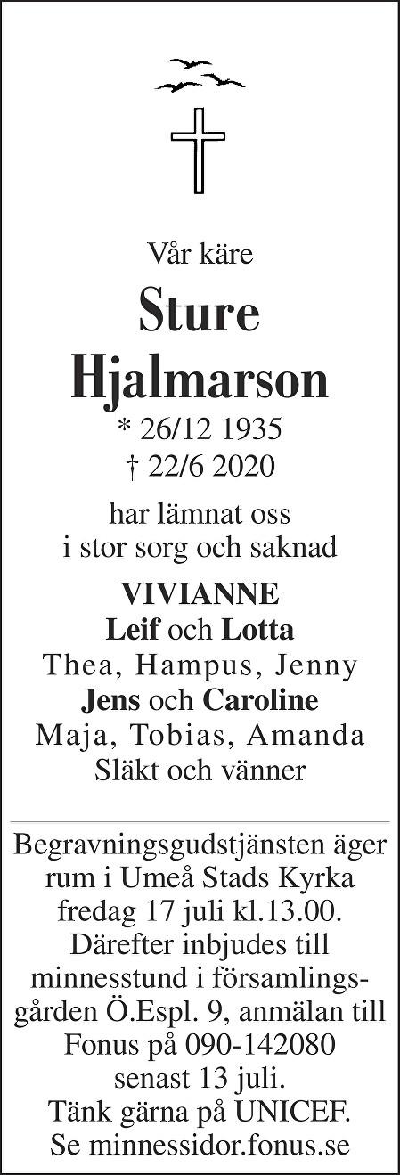 Sture Hjalmarsson Death notice