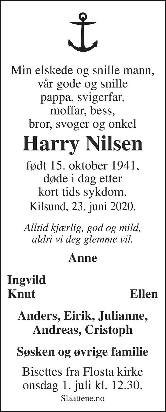 Harry Nilsen Dødsannonse