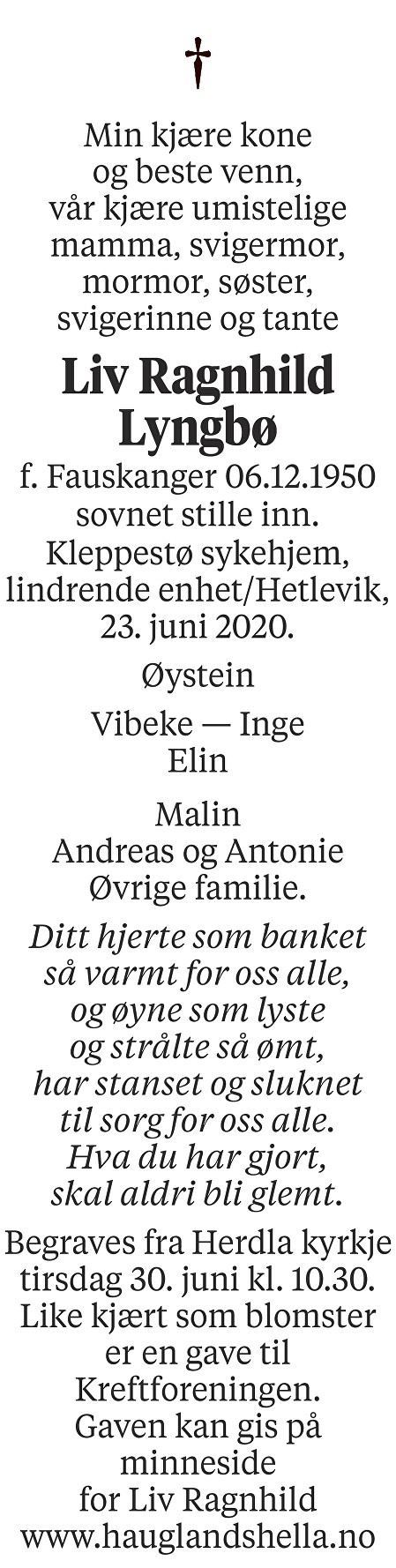 Liv Ragnhild Lyngbø Dødsannonse