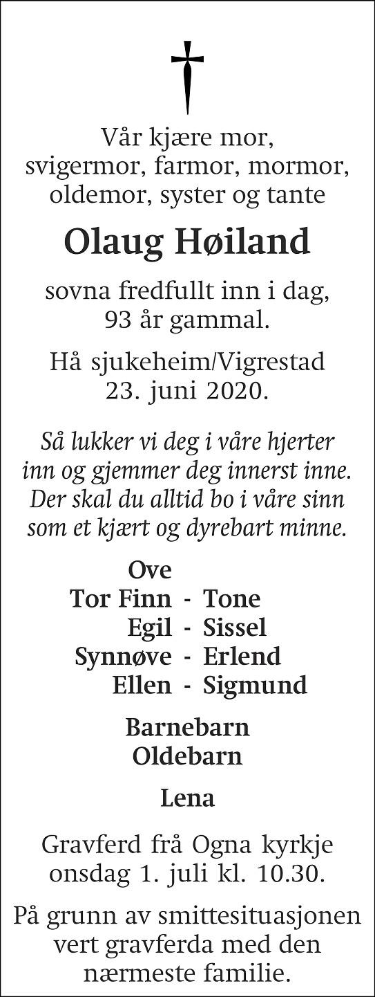 Olaug Høiland Dødsannonse