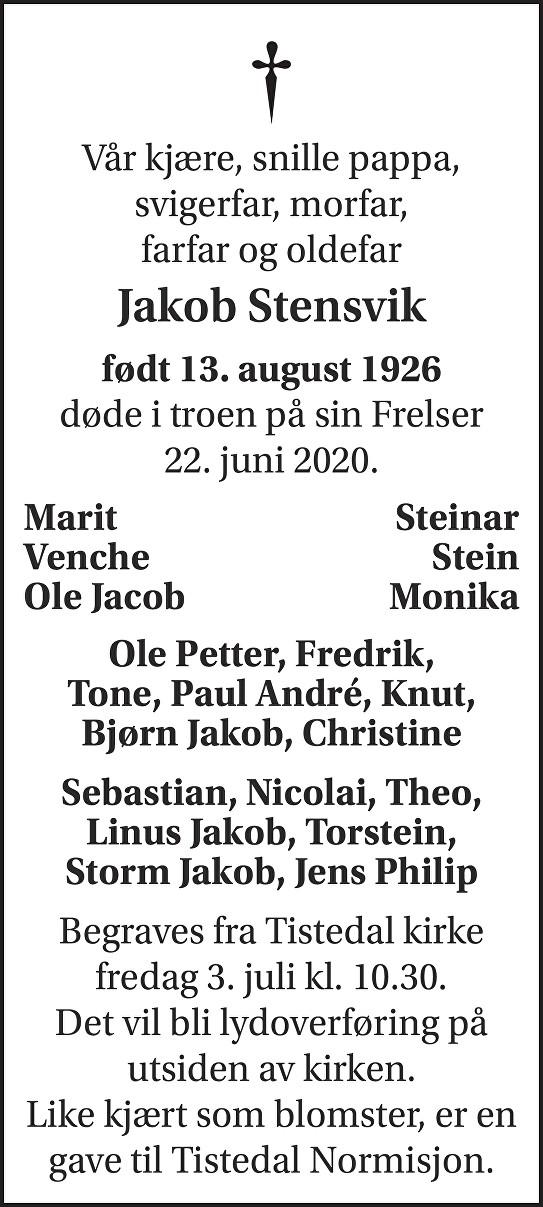 Jakob Marenius Stensvik Dødsannonse