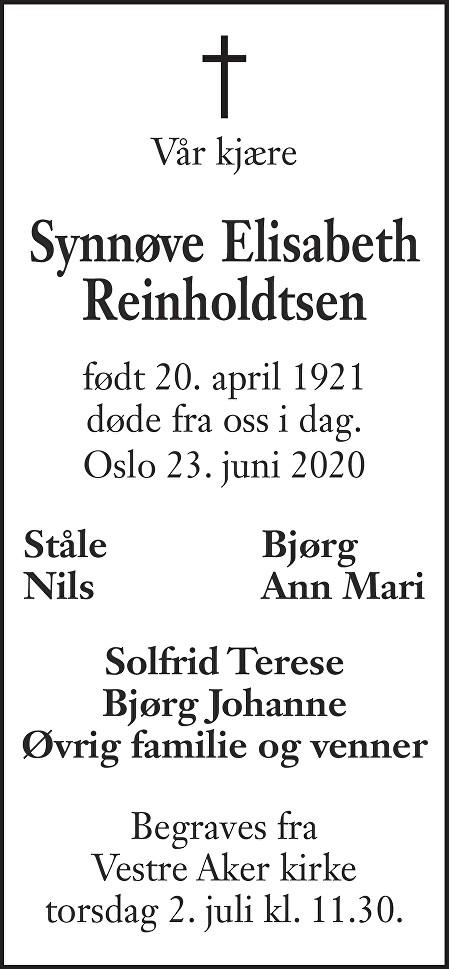 Synnøve Elisabeth Reinholdtsen Dødsannonse