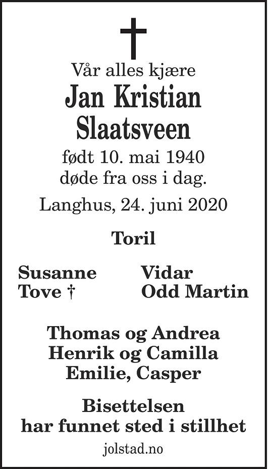 Jan Kristian Slaatsveen Dødsannonse