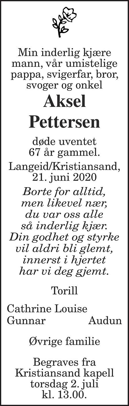Aksel Pettersen Dødsannonse