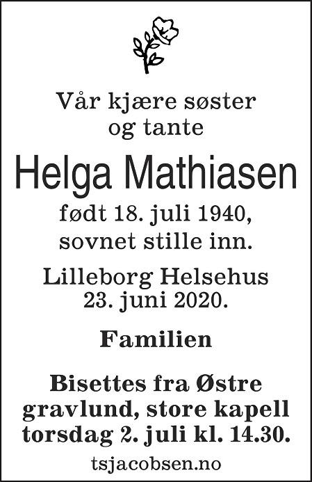 Helga Mathiasen Dødsannonse