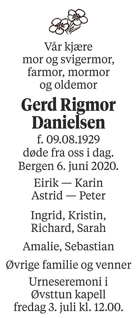 Gerd Rigmor Danielsen Dødsannonse