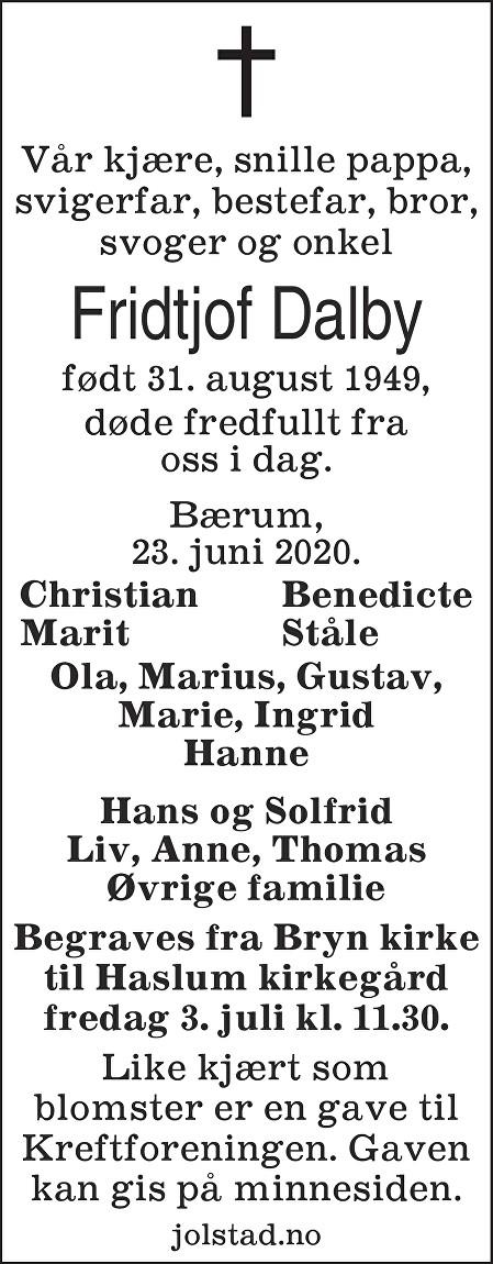 Fridtjof Dalby Dødsannonse