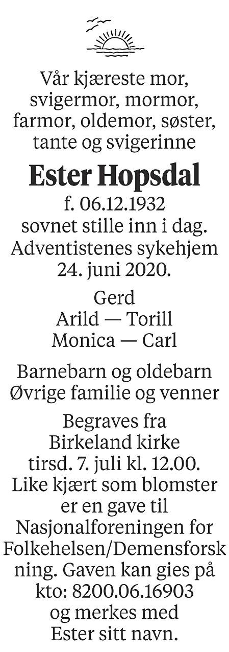 Ester  Hopsdal Dødsannonse