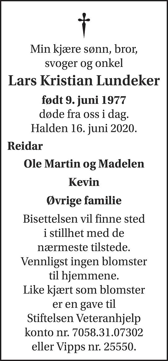 Lars Kristian Lundeker Dødsannonse