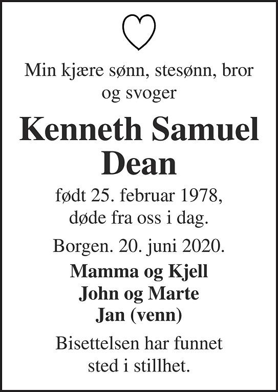 Kenneth Samuel Dean Dødsannonse