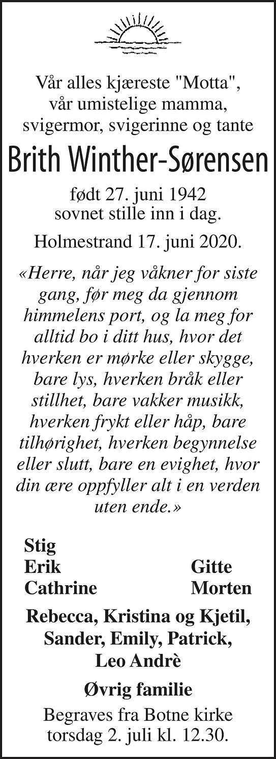 Brith Winther-Sørensen Dødsannonse