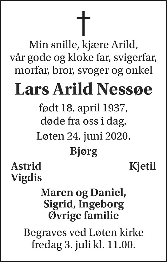 Lars Arild Nessøe Dødsannonse