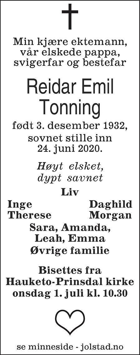 Reidar Emil Tonning Dødsannonse