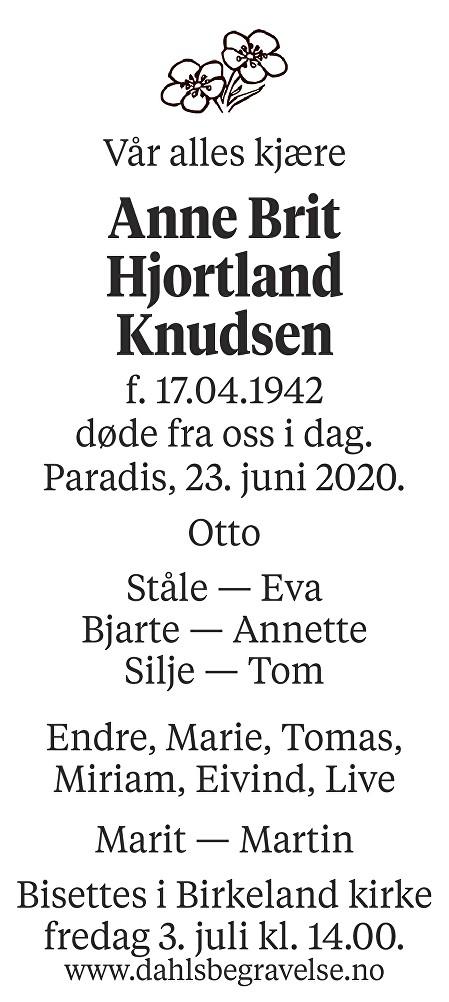 Anne Brit Hjortland Knudsen Dødsannonse