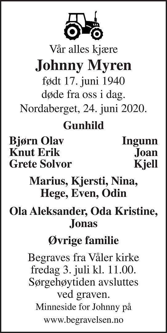 Johnny Myren Dødsannonse