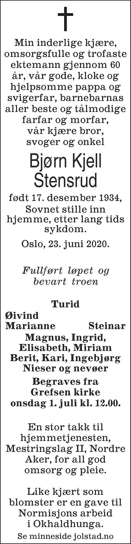 Bjørn Kjell Stensrud Dødsannonse