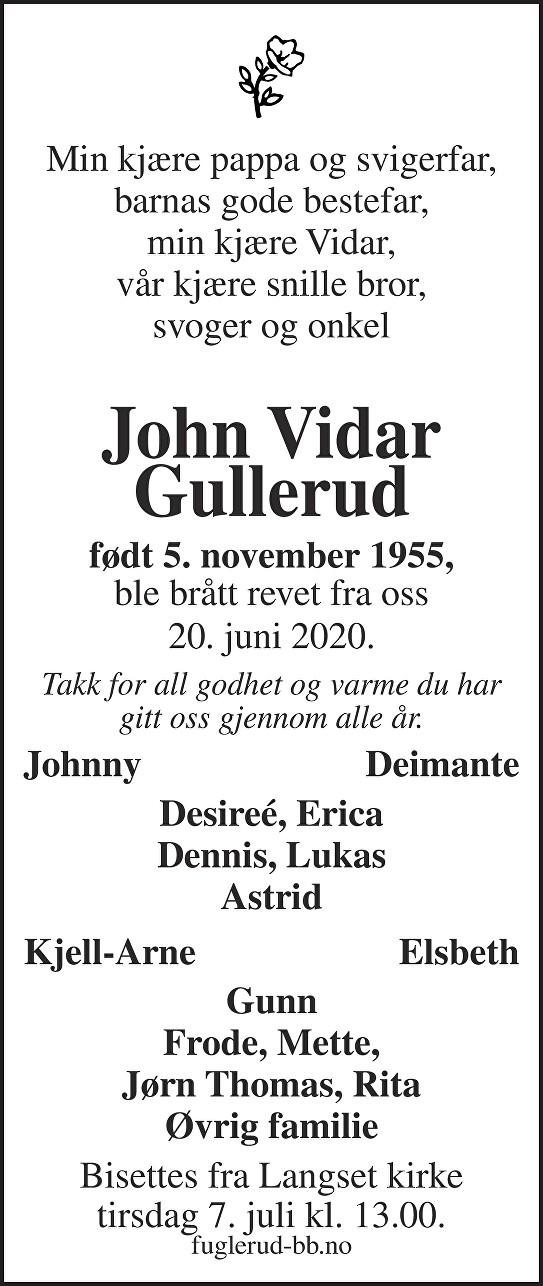 John Vidar Gullerud Dødsannonse