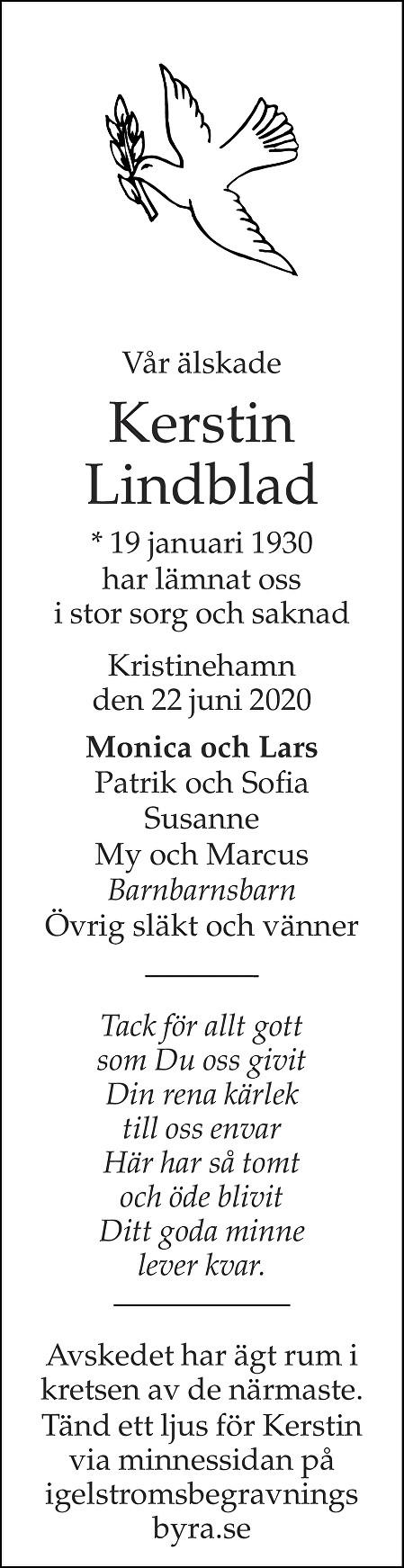 Kerstin Lindblad Death notice