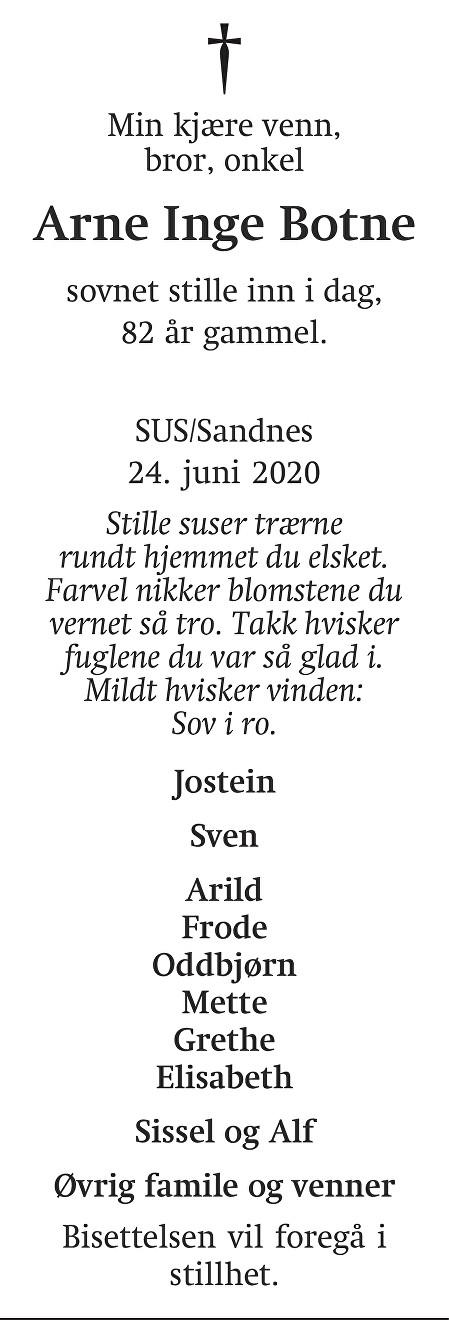 Arne Inge Botne Dødsannonse
