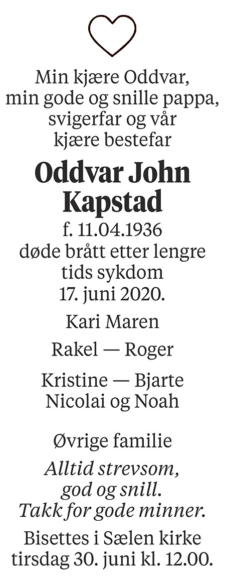 Oddvar John Kapstad Dødsannonse
