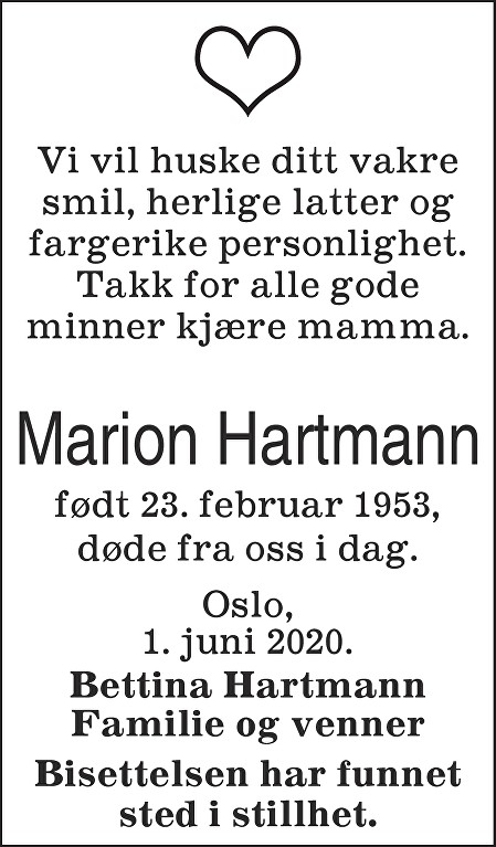 Gerd Marion Skytland Hartmann Dødsannonse
