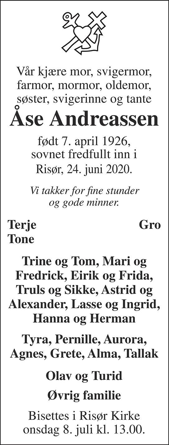 Åse Andreassen Dødsannonse