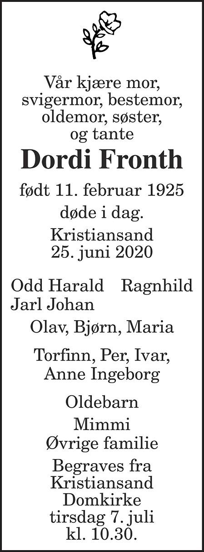 Dordi Jofrid Fronth Dødsannonse